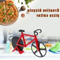 kitchen stainless steel bicycle pizza cutter dual