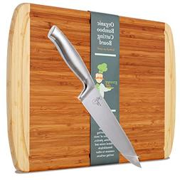 "Extra Large Organic Bamboo Cutting Board with 8"" Chef Knife"