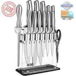 Knife Block Set 14 Pieces Stainless Steel with Acrylic Stand