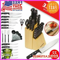 Knife-Farberware Block Set Kitchen Sharpening Stainless Stee