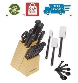 Knife Farberware Block Set Kitchen Sharpening Stainless Stee