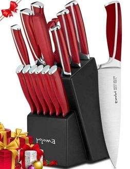 Knife Set, 15-Piece Kitchen Set with Block, ABS Handle for C