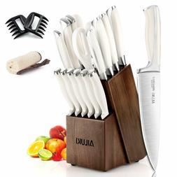 Knife Set, 19-Piece Kitchen Knife Set with Block Wooden Germ