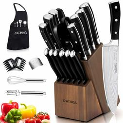 Knife Set, 21-Piece Kitchen Knife Set with Block Wooden Germ