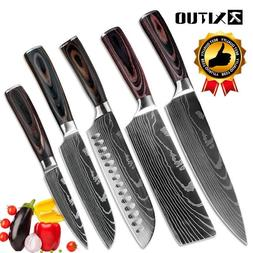 KNIFE SET 4PCS kitchen Cleaver knives Japanese Damascus patt