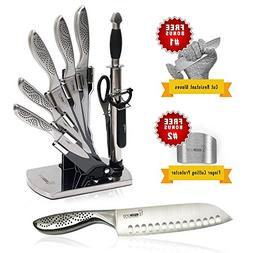 knife set, 11 piece Kitchen Cutlery essential Stainless stee