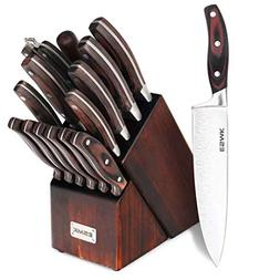 Knife Set, 15-Piece Kitchen Knife Set with Block Wooden, Man