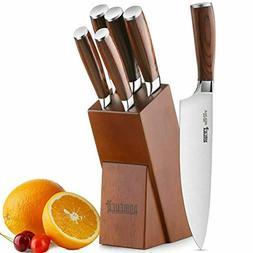 Knife Set,6-Piece Kitchen Knife Set with Wooden Block German