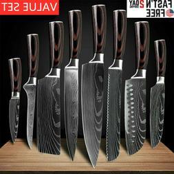 Chef Kitchen Knives Value Set Japanese Damascus Pattern Stai