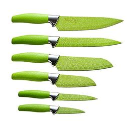 Chef Essential 6 Piece Knife Set With Matching Sheaths, Gree