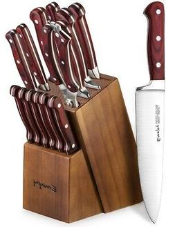 Knife Set, Wooden Handle 15-Piece Kitchen Knife Set with Blo