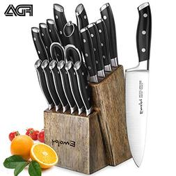 Knife Set, 18-Piece Kitchen Knife Set with Block Wooden, Man
