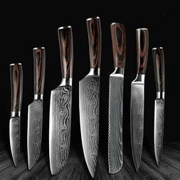 Knife Set Kitchen Chef Japanese Damascus Steel Kitchen Knive