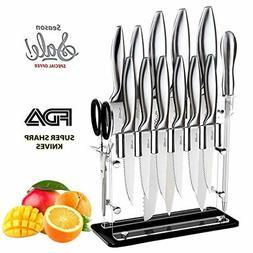 Knife Set Kitchen Chef Knives Stone boomer 14 Piece Knife Bl
