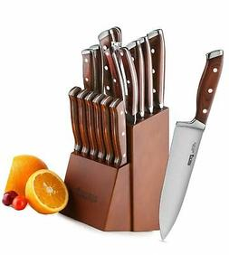Knife Set,15-Piece Kitchen Knife Set with Block Wooden,Chef