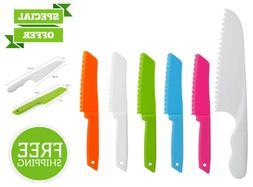 6 Piece Plastic Kitchen Knife Set Chef Nylon Kids Knives for
