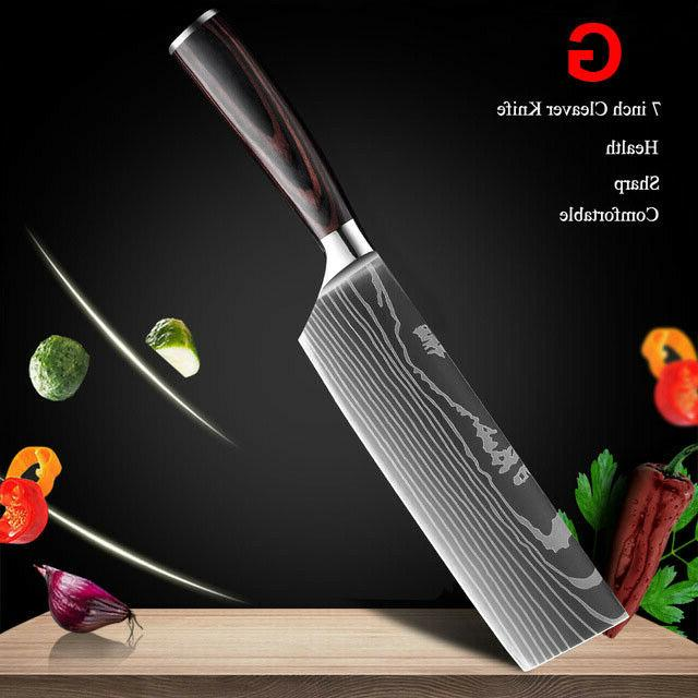 10Pcs Kitchen Knife Set Japanese Damascus Pattern Steel Best Gift