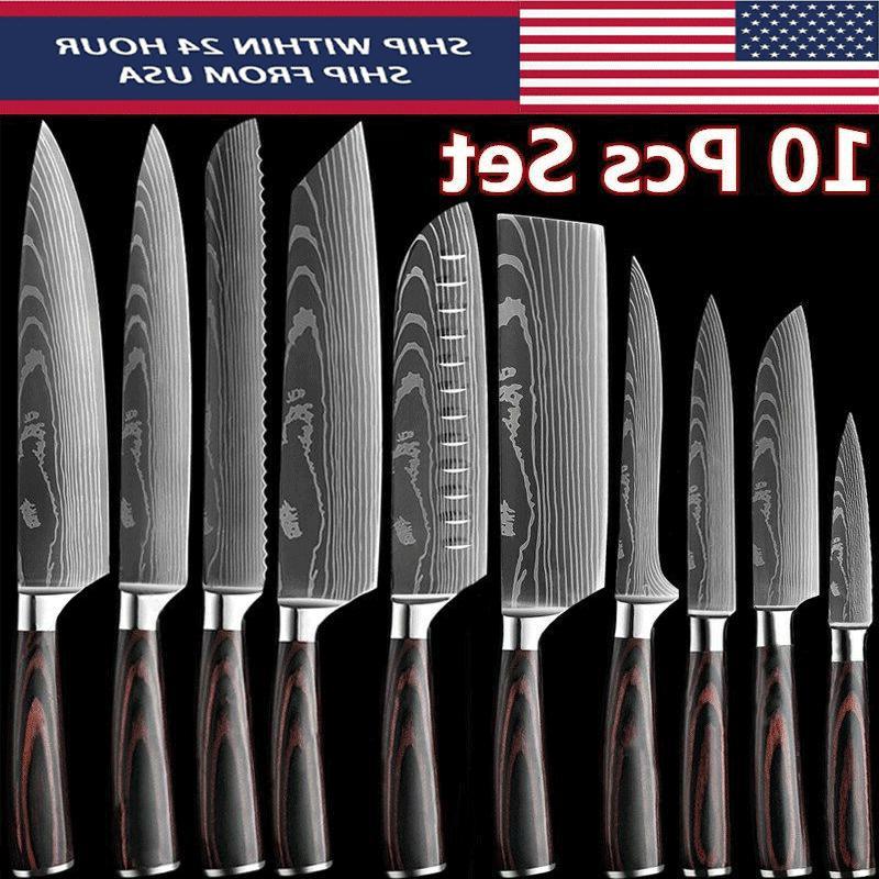 10 pcs japanese kitchen knife set damascus