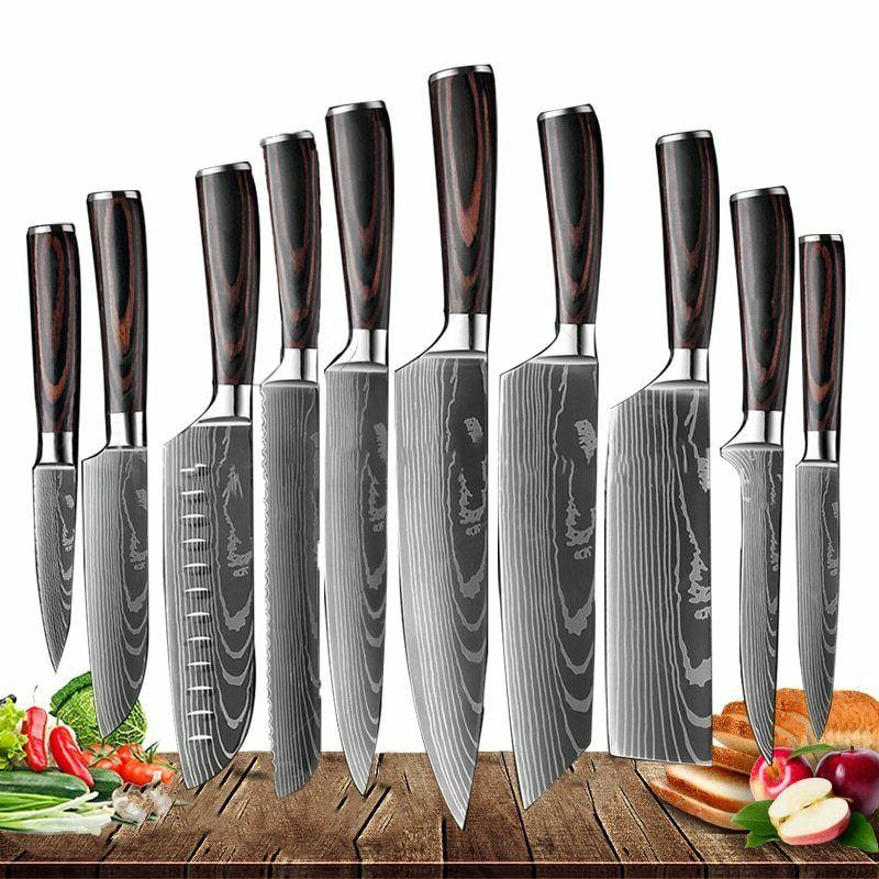 12 Kitchen Knives Set Stainless Steel Chef