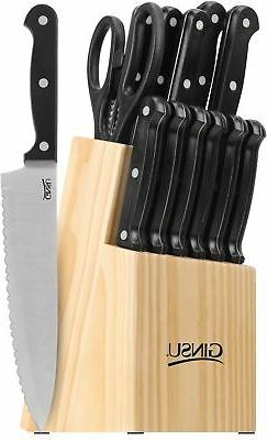 14 Piece Ginsu Knife Block Set Cutlery Kitchen Stainless Ste