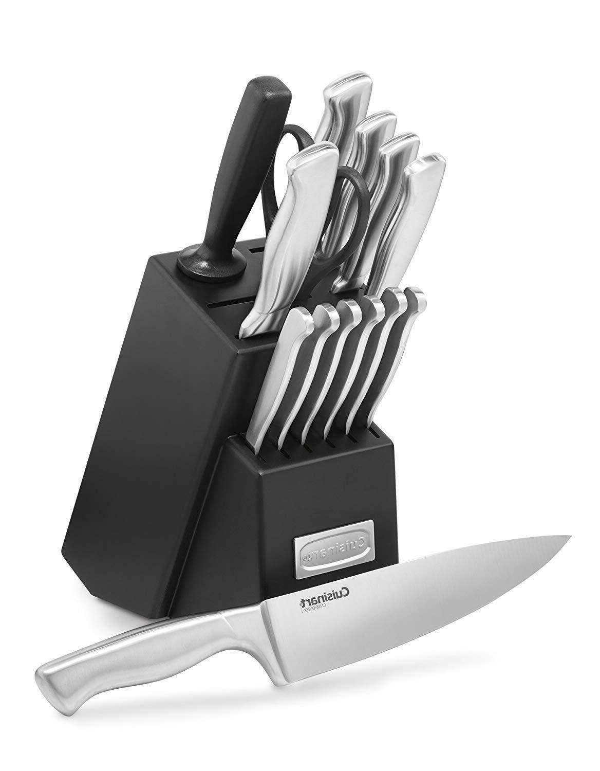 15-Piece Kitchen Knife Block Set Cutlery Sharp Carbon Stainl