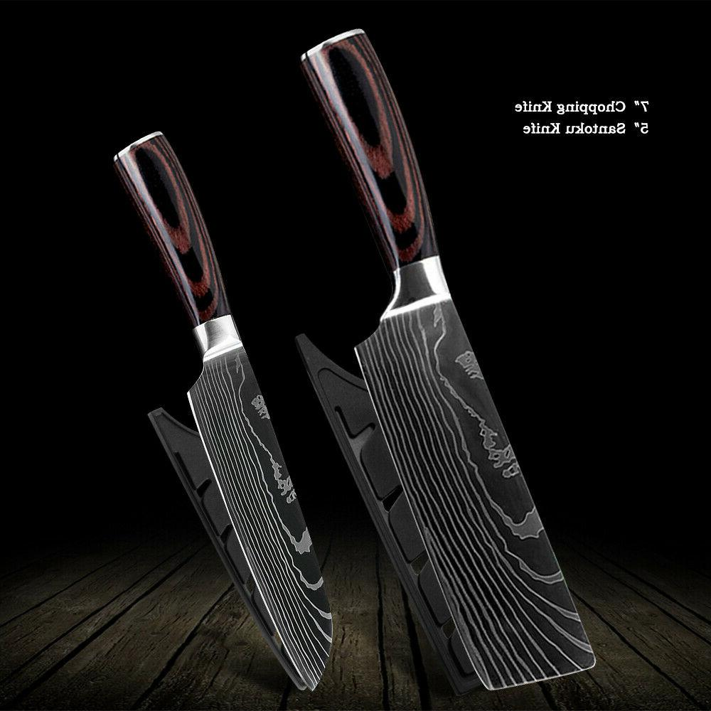kitchen knives chef meat cleaver damascus style