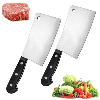 2pc stainless steel butcher knife cleaver chopper