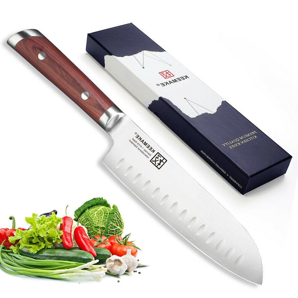 "2PCS Chef's Knife Set German Steel 7"" Santoku Knife & 5"" Uti"