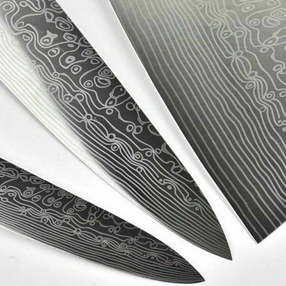 3PCS Damascus Kitchen Japanese Damascus Kiritsuke Knife Set