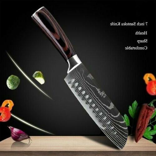 "7"" Kitchen Santoku Knife High Carbon Stainless Steel Damascu"