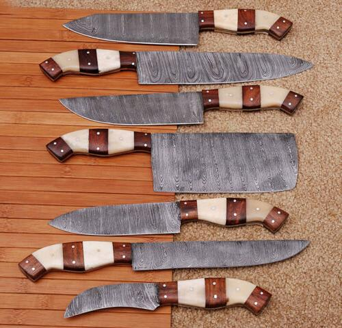 7pieces hand forged damascus steel chef knife