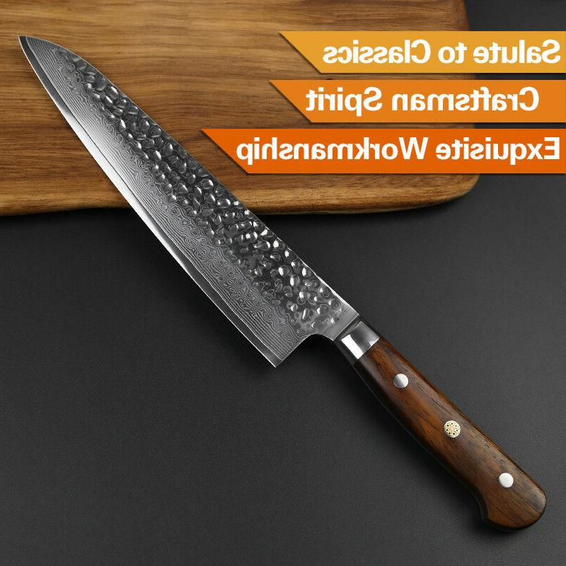 """8"""" damascus pattern knife carbon handle kitchen gift"""