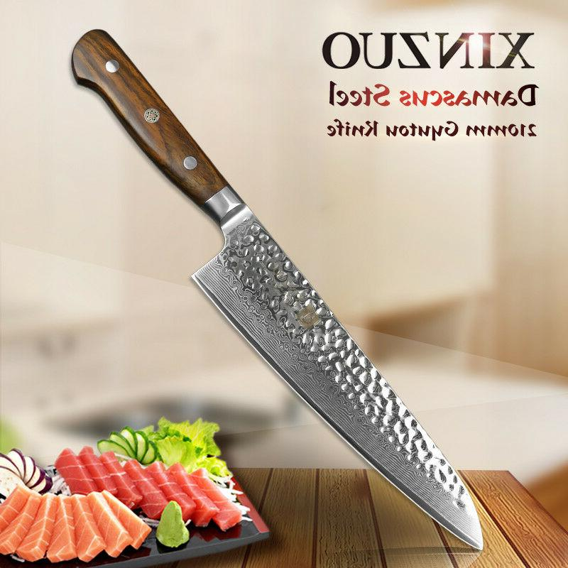 8 damascus pattern chef knife carbon steel