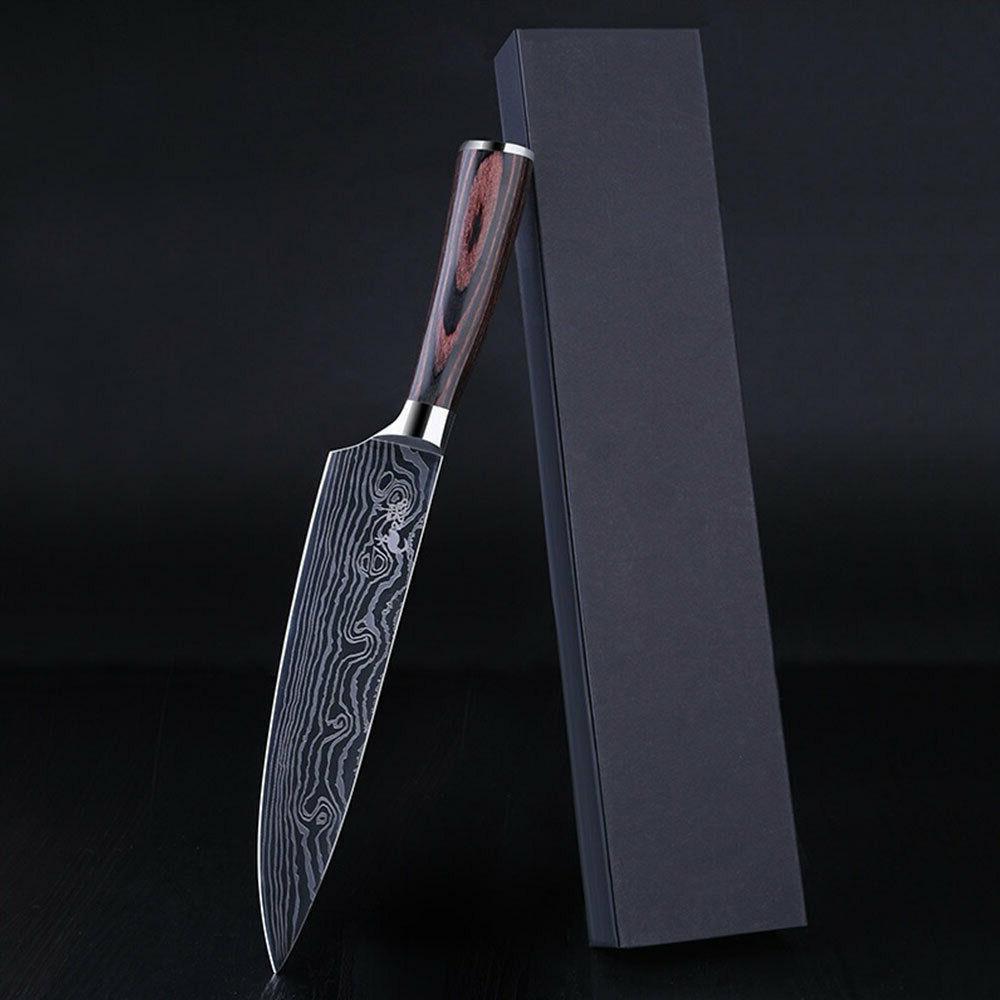 "8"" Damascus Pattern Chef Knife Carbon Steel Wooden Handle Ki"