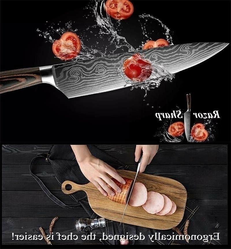 Chef Knife Pattern Steel 8 Pcs Sets