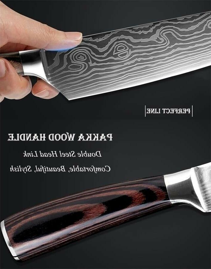 Chef Kitchen Knife Damascus Pattern Steel Knife Sets