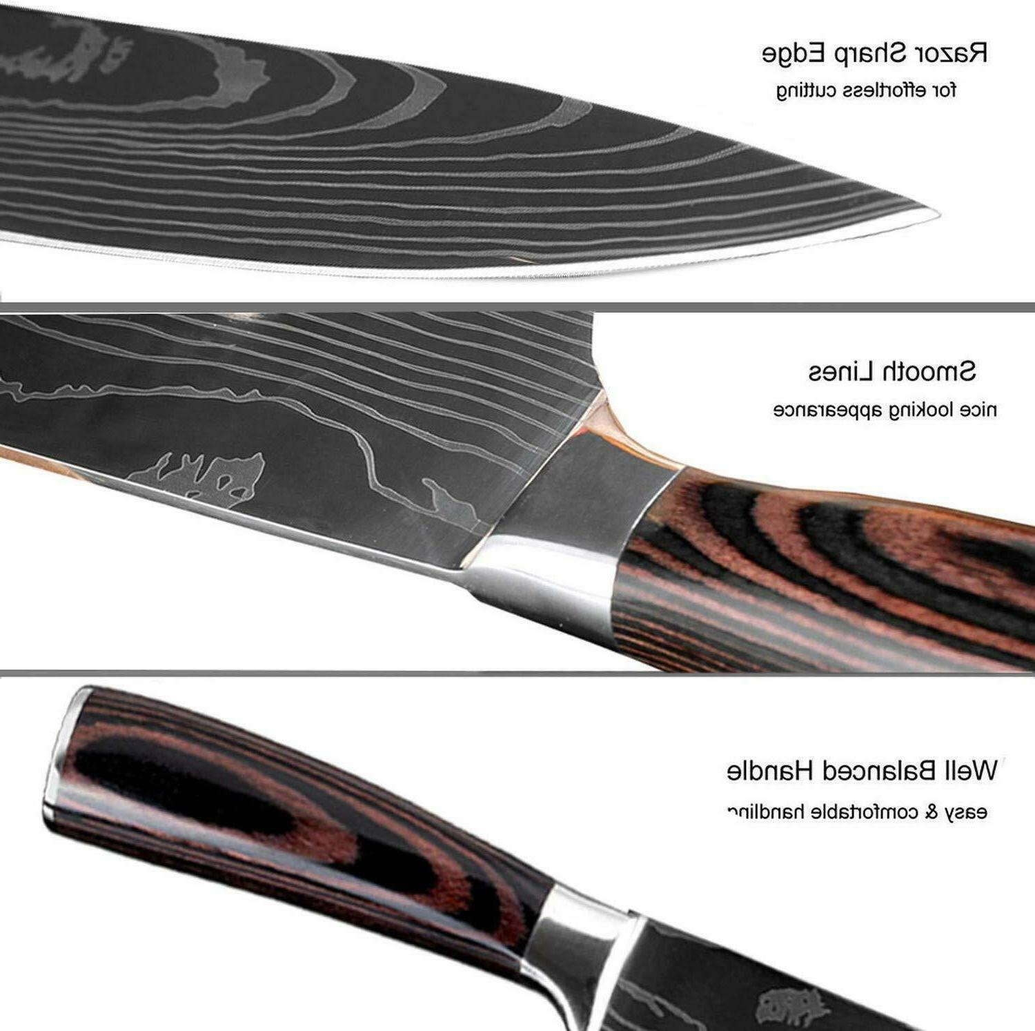 Chef Knife Damascus Pattern Stainless Steel Knife 8 Sets