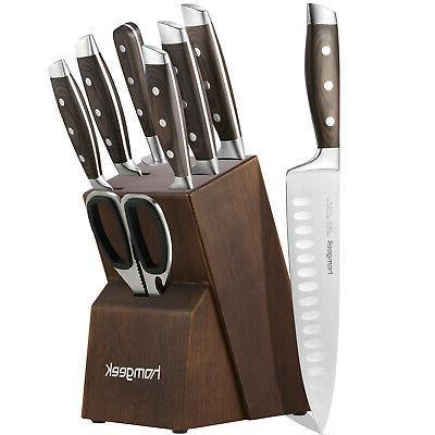 8 Piec Stainless Steel Kitchen Home Knife Set Sharpener Cutl