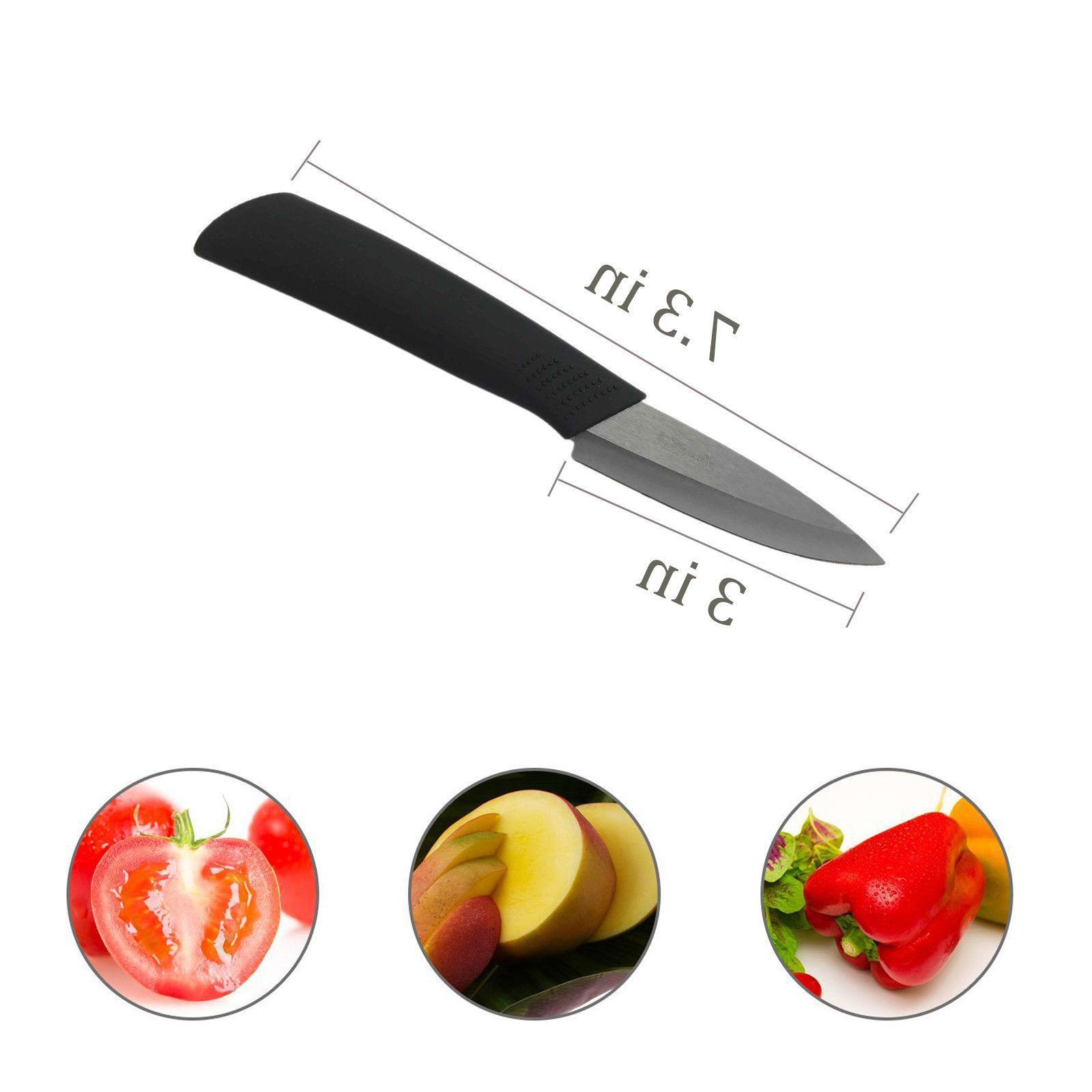"Ceramic Set Chef's Kitchen Knives 4"" 5"" 6"" Knife Black"