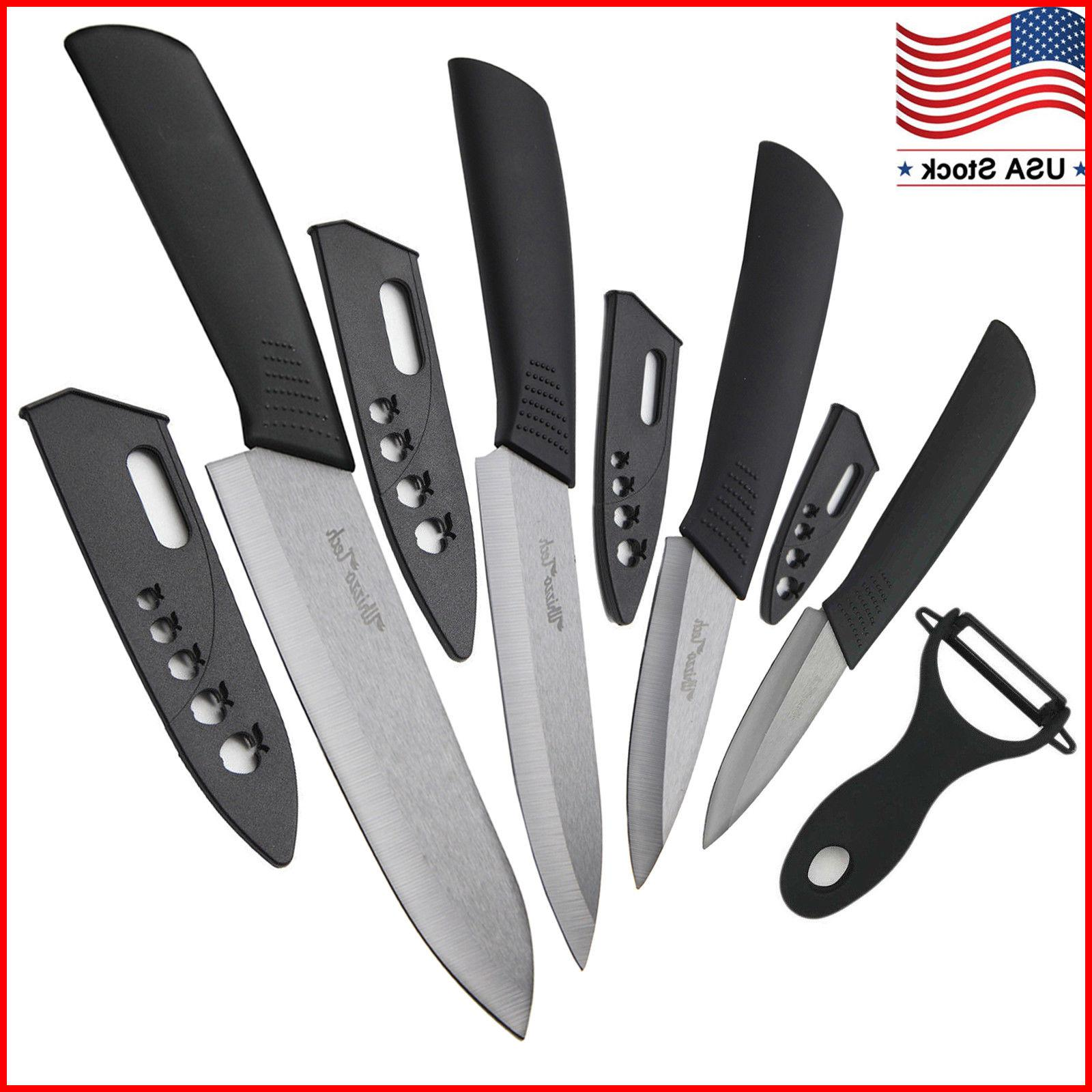 "Ceramic knife Set Chef's Kitchen Knives 3"" 4"" 5"" 6"" + Peeler"