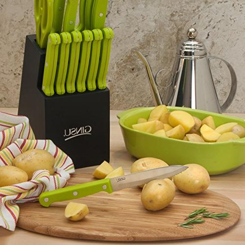 Stainless Set – with Knives in a Black Block, 03886LGDS