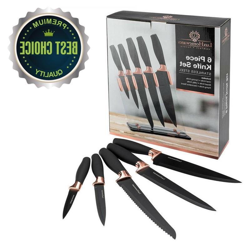 Knife Set Transparent Stand Block Rose Gold Sharp Kitchen Se