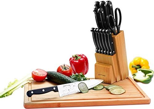 Utopia Kitchen Knife Set with 13 Pieces Chef Knife, Knife, Utility Paring Knife, Knife, Scissors - knives with Wooden Block