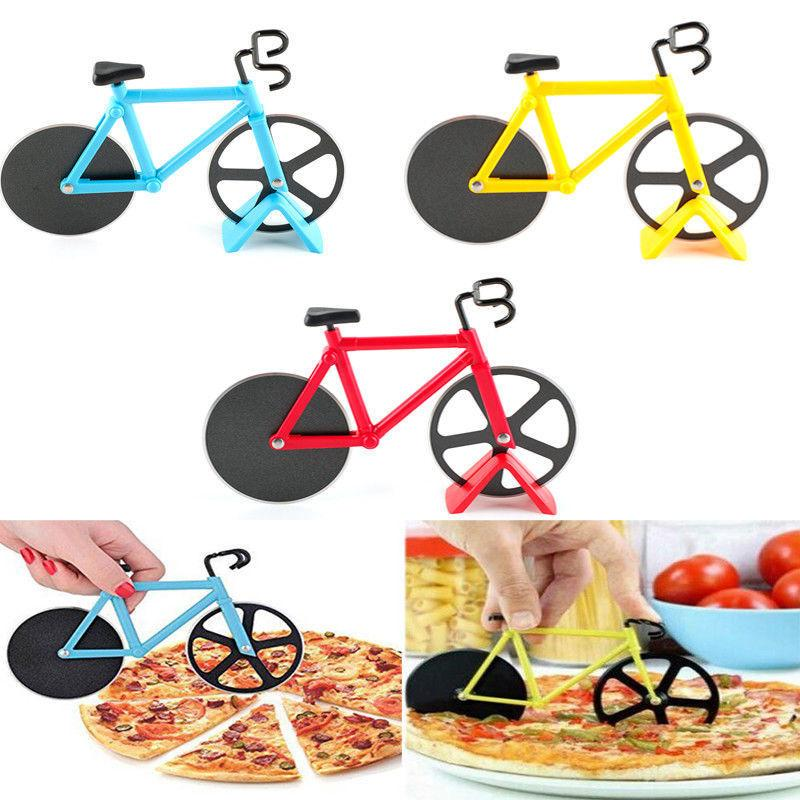 bicycle pizza cutter dual slicer stainless steel