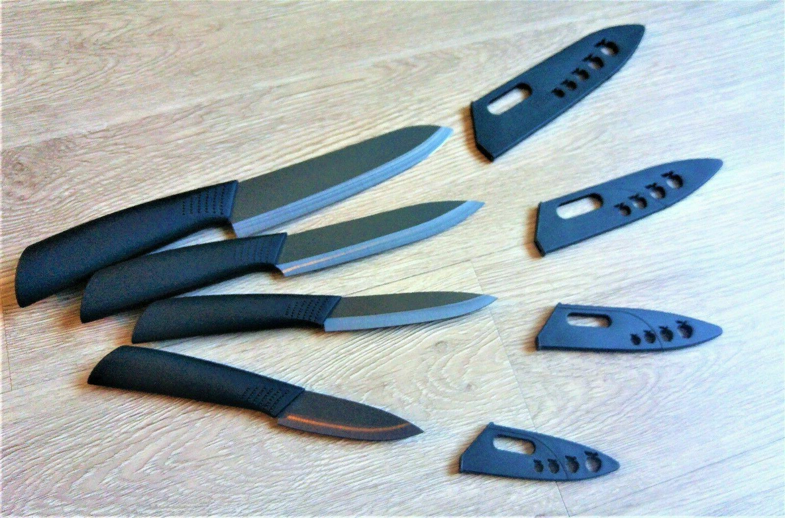 Black Sharp Ceramic Knife Set Knives 6″ + Covers