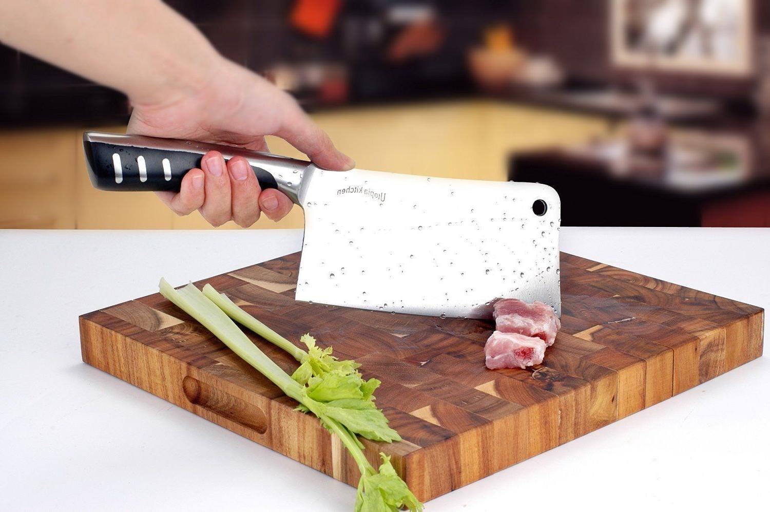 "7"" Stainless Butcher Knife Cleaver Chopper Home"