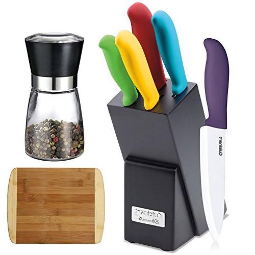 ceramic cutlery knife block set
