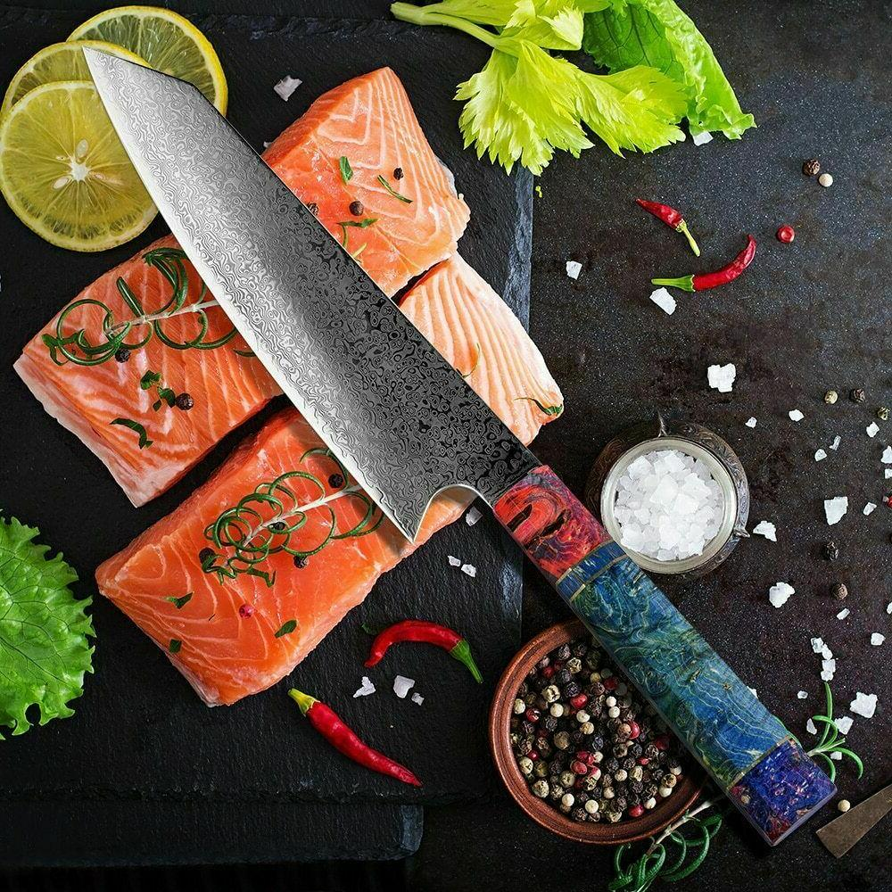 Chef Damascus Kitchen Knives Japanese Damascus Steel
