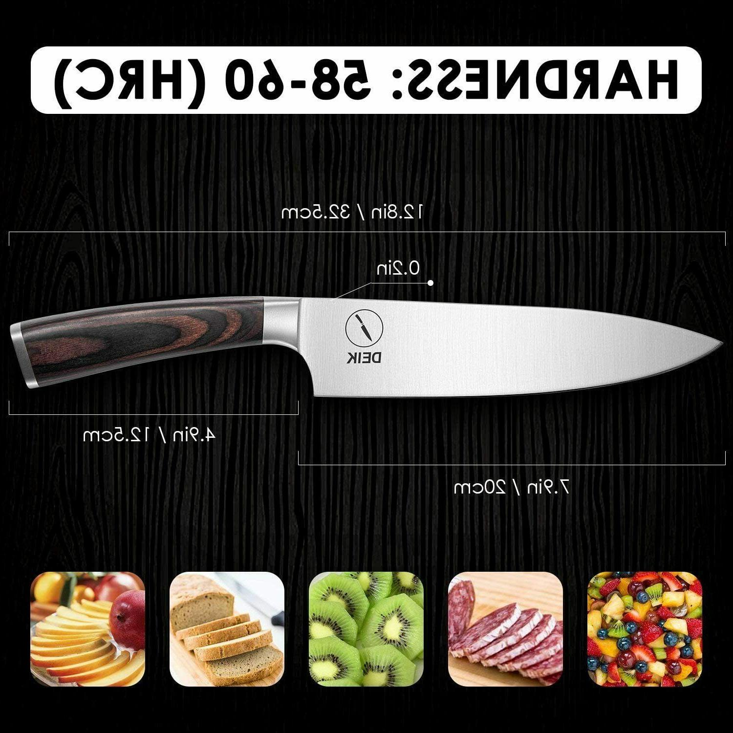 Deik Carbon Stainless Steel Knife Wood 8inch