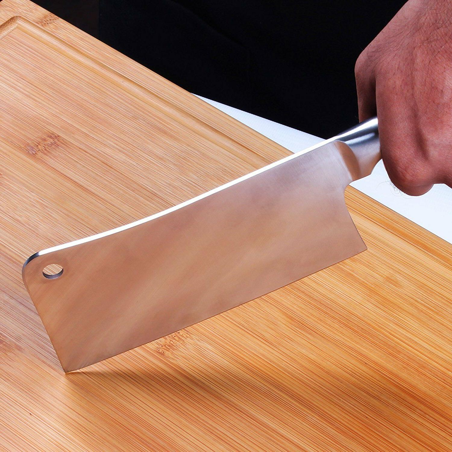 """Cleaver Knife Stainless Steel Butcher 7"""" Home Utopia"""